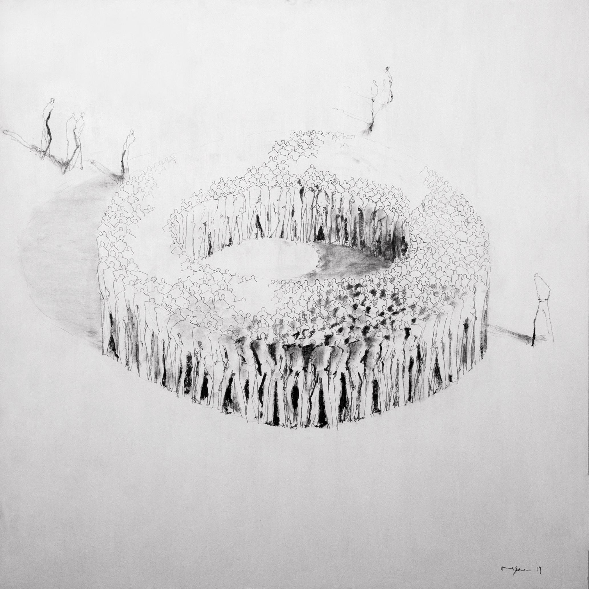Heinz P. Nitzsche - Consilium Skizze, 2019 | Unikat | signiert | Acryl & Graphit auf Holztafel | 100 x 100 cm